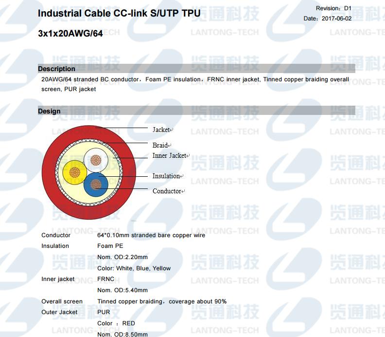 CC-Link拖链专用电缆